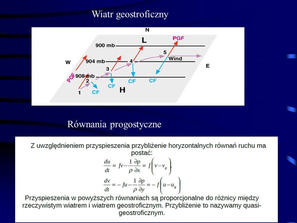 29 Wiatr geostroficzny Równania progostyczne