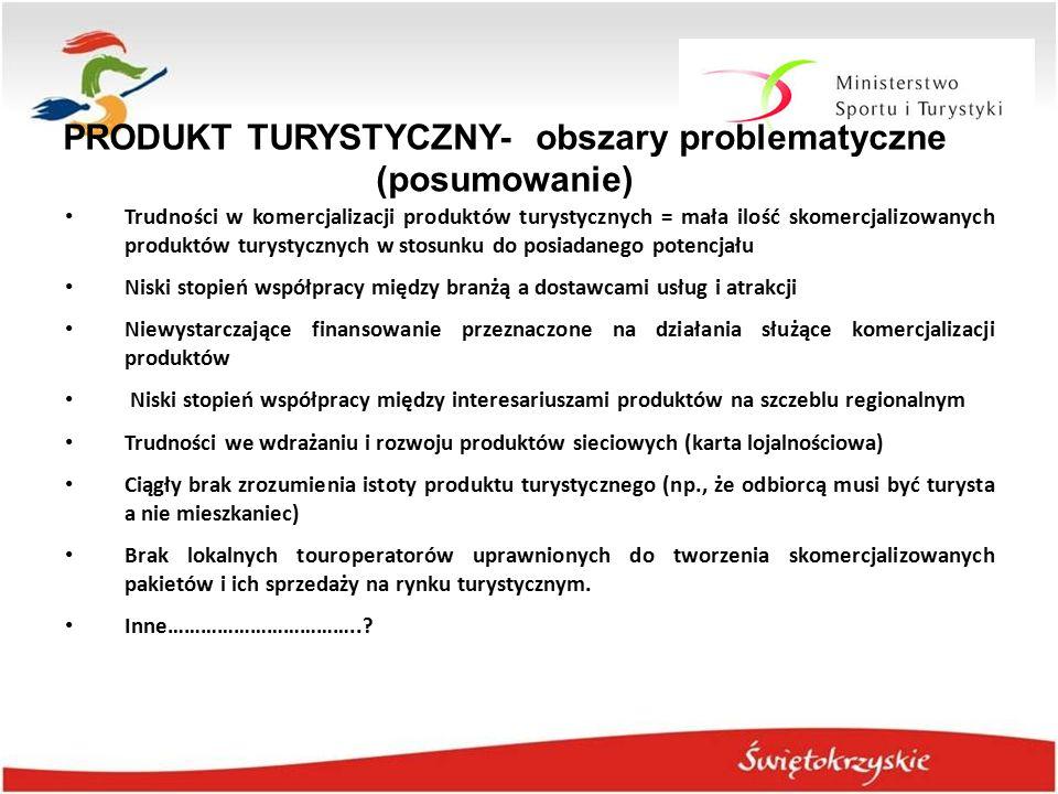 PRODUKT TURYSTYCZNY- obszary problematyczne (posumowanie) Trudności w komercjalizacji produktów turystycznych = mała ilość skomercjalizowanych produkt