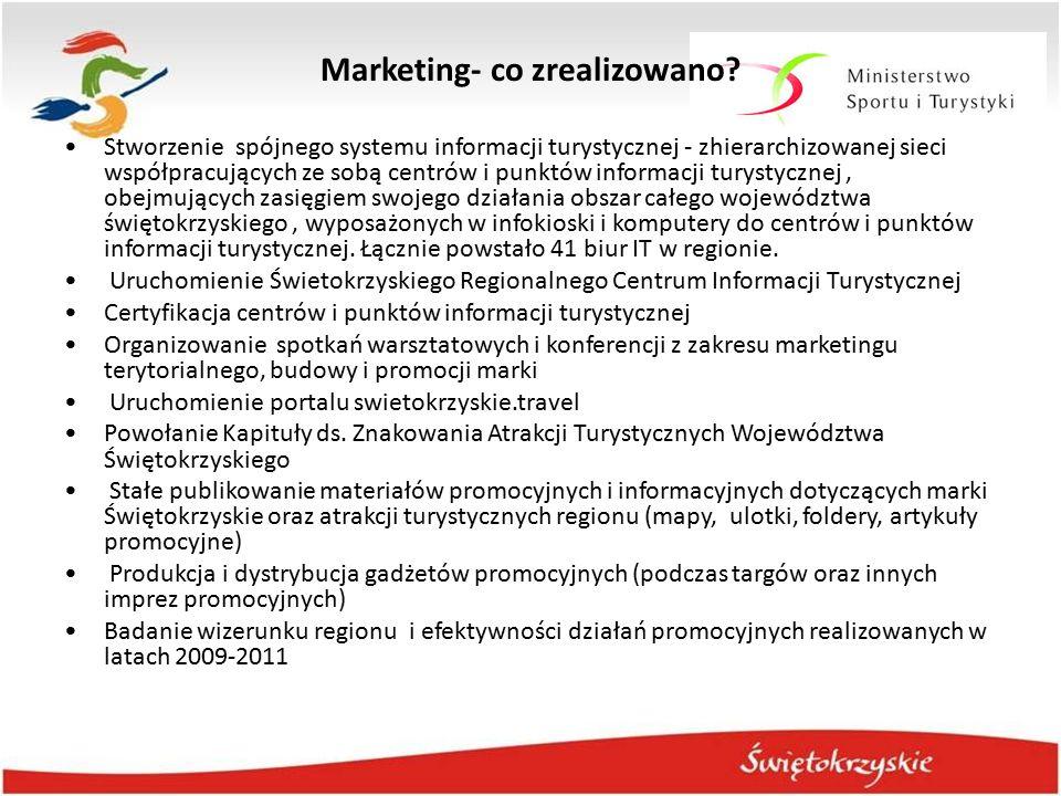Marketing- co zrealizowano? Stworzenie spójnego systemu informacji turystycznej - zhierarchizowanej sieci współpracujących ze sobą centrów i punktów i