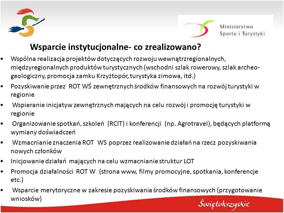 Wsparcie instytucjonalne- co zrealizowano? Wspólna realizacja projektów dotyczących rozwoju wewnątrzregionalnych, międzyregionalnych produktów turysty