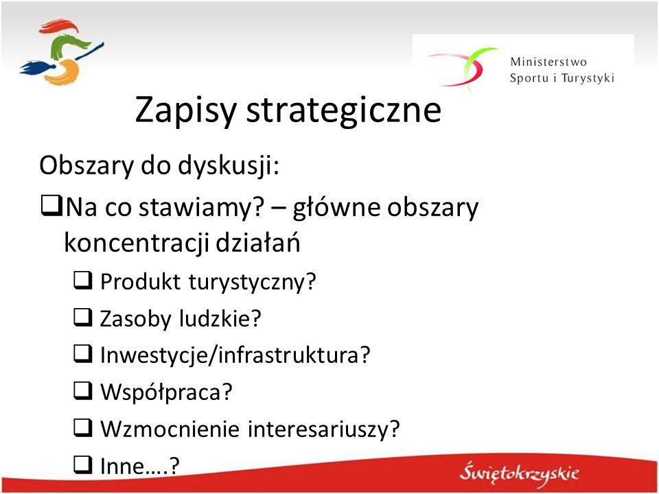 Zapisy strategiczne Obszary do dyskusji:  Na co stawiamy? – główne obszary koncentracji działań  Produkt turystyczny?  Zasoby ludzkie?  Inwestycje