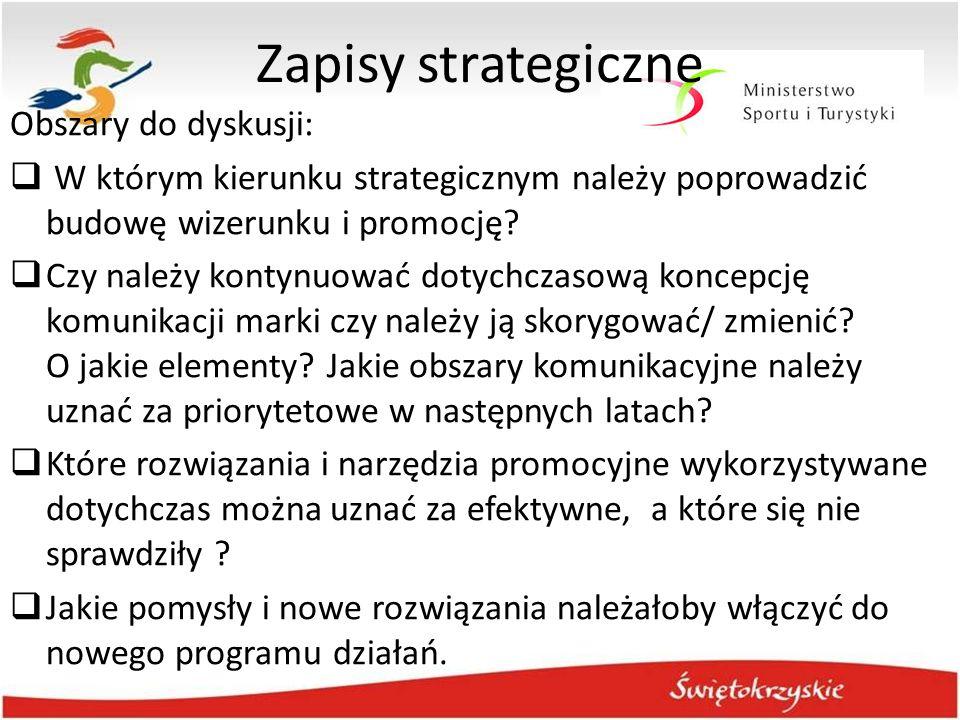 Zapisy strategiczne Obszary do dyskusji:  W którym kierunku strategicznym należy poprowadzić budowę wizerunku i promocję?  Czy należy kontynuować do