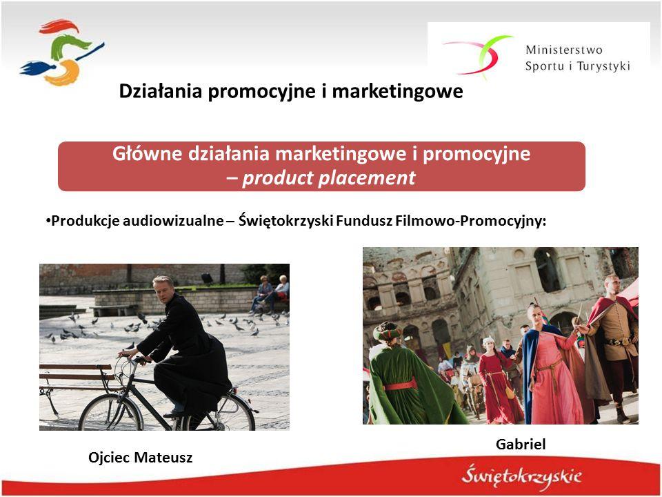 Działania promocyjne i marketingowe Główne działania marketingowe i promocyjne – product placement Produkcje audiowizualne – Świętokrzyski Fundusz Fil