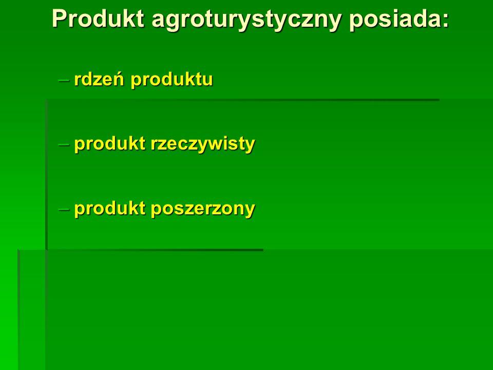 Produkt agroturystyczny posiada: –rdzeń produktu –produkt rzeczywisty –produkt poszerzony