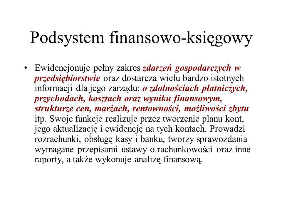 Podsystem finansowo-księgowy Ewidencjonuje pełny zakres zdarzeń gospodarczych w przedsiębiorstwie oraz dostarcza wielu bardzo istotnych informacji dla