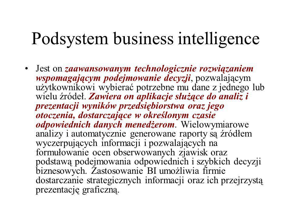 Podsystem business intelligence Jest on zaawansowanym technologicznie rozwiązaniem wspomagającym podejmowanie decyzji, pozwalającym użytkownikowi wybi