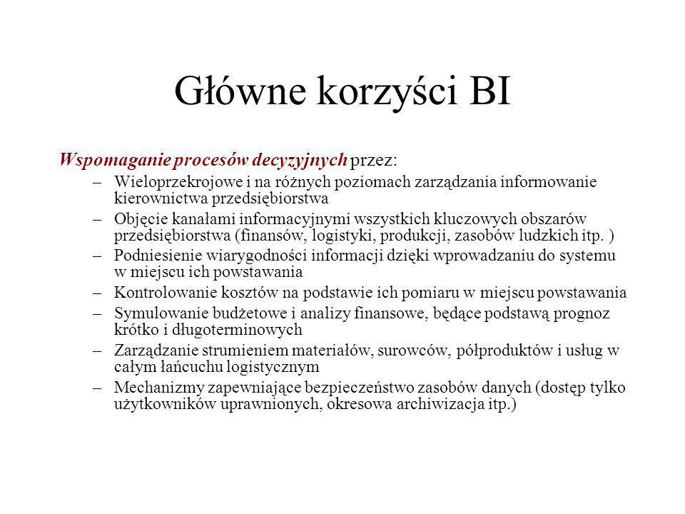 Główne korzyści BI Wspomaganie procesów decyzyjnych przez: –Wieloprzekrojowe i na różnych poziomach zarządzania informowanie kierownictwa przedsiębior