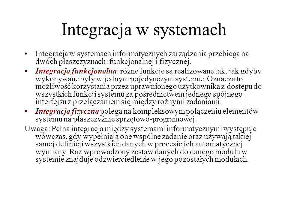 Integracja w systemach Integracja w systemach informatycznych zarządzania przebiega na dwóch płaszczyznach: funkcjonalnej i fizycznej. Integracja funk