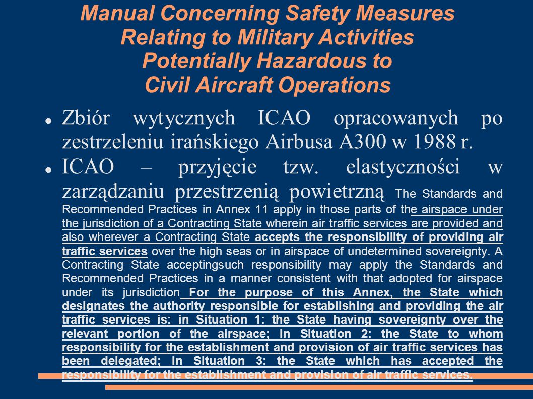 Manual Concerning Safety Measures Relating to Military Activities Potentially Hazardous to Civil Aircraft Operations Zbiór wytycznych ICAO opracowanyc