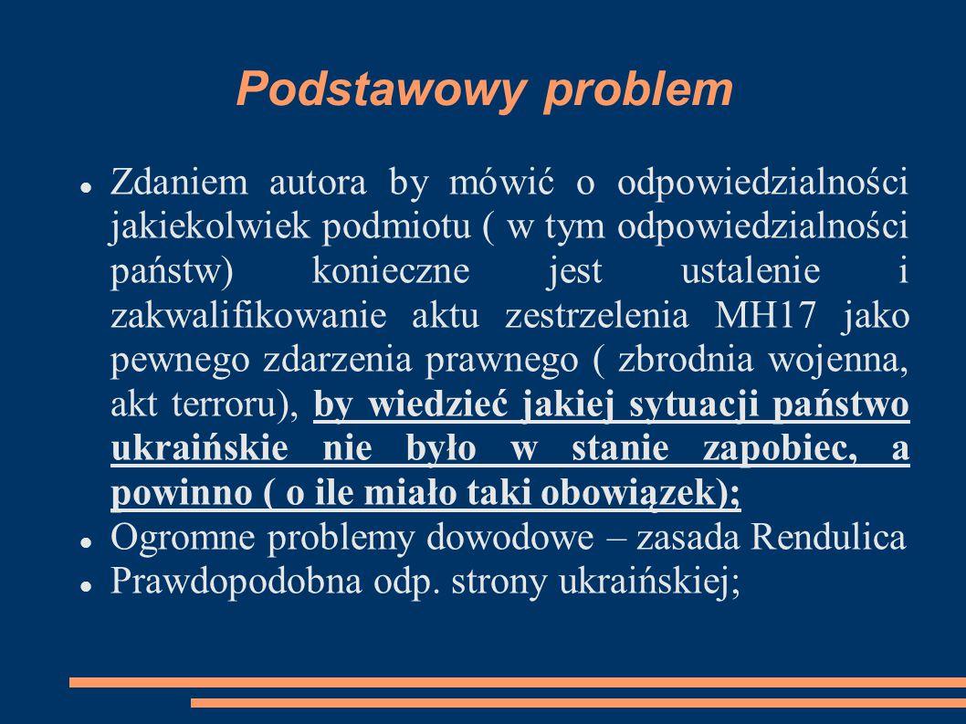 Podstawowy problem Zdaniem autora by mówić o odpowiedzialności jakiekolwiek podmiotu ( w tym odpowiedzialności państw) konieczne jest ustalenie i zakw