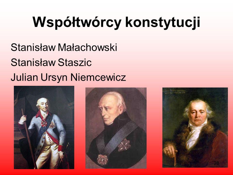 Autorzy Konstytucji 3 maja Król Stanisław August Poniatowski Hugon Kołłątaj Ignacy Potocki 27