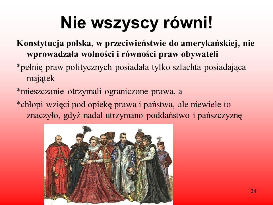 Założenia konstytucji c.d. *znosiła wolną elekcję, wprowadzając zasadę dziedziczenia tronu. *wprowadziła zakaz konfederacji, które często organizowane