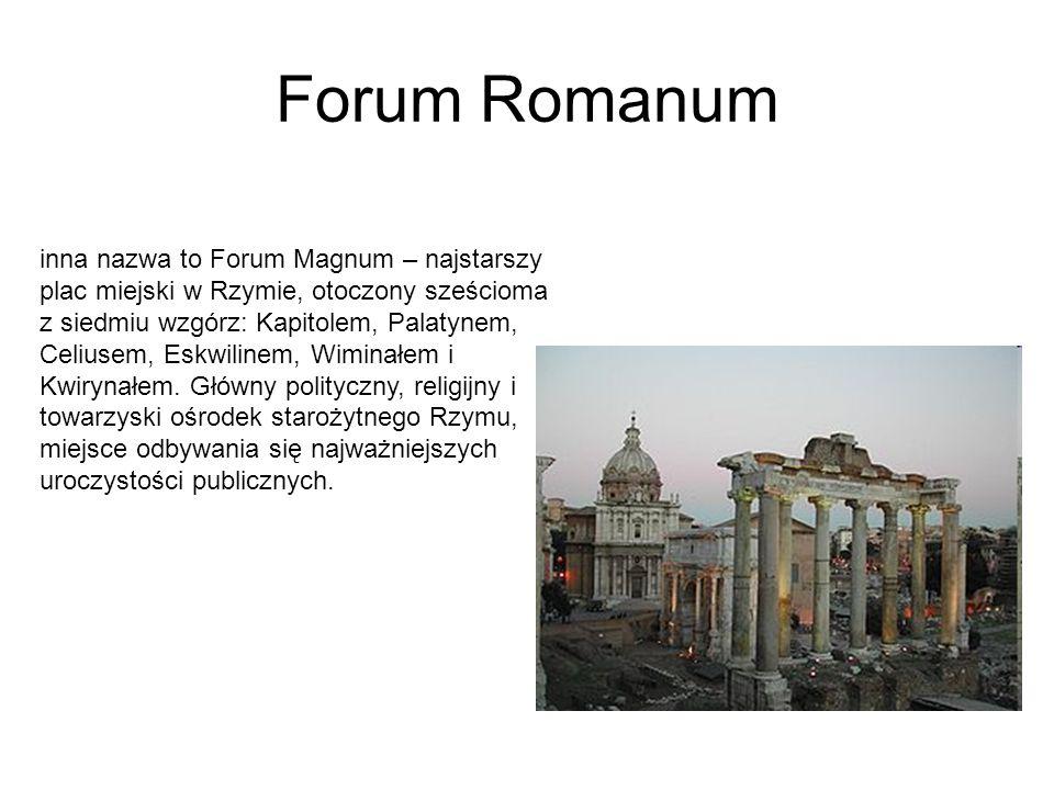 Forum Romanum inna nazwa to Forum Magnum – najstarszy plac miejski w Rzymie, otoczony sześcioma z siedmiu wzgórz: Kapitolem, Palatynem, Celiusem, Eskwilinem, Wiminałem i Kwirynałem.