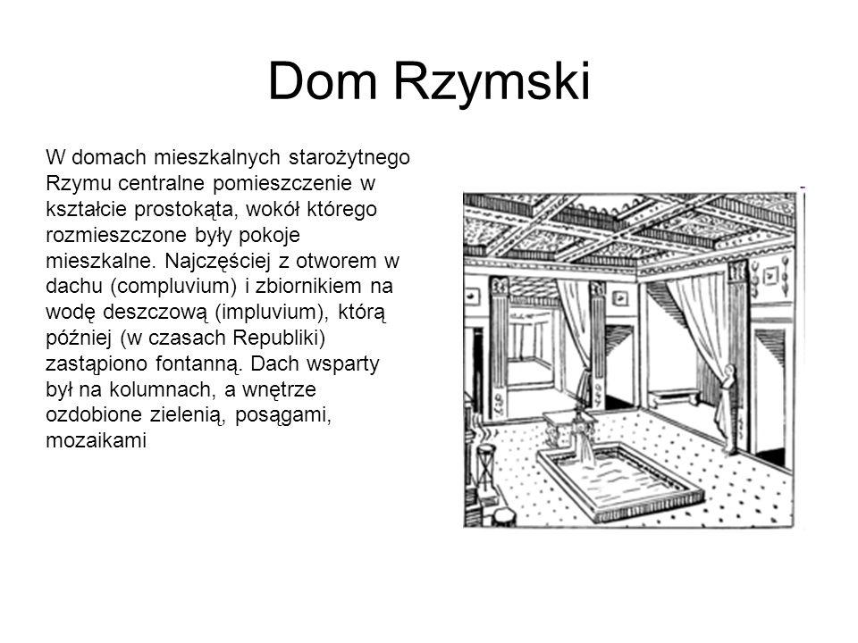 Dom Rzymski W domach mieszkalnych starożytnego Rzymu centralne pomieszczenie w kształcie prostokąta, wokół którego rozmieszczone były pokoje mieszkalne.