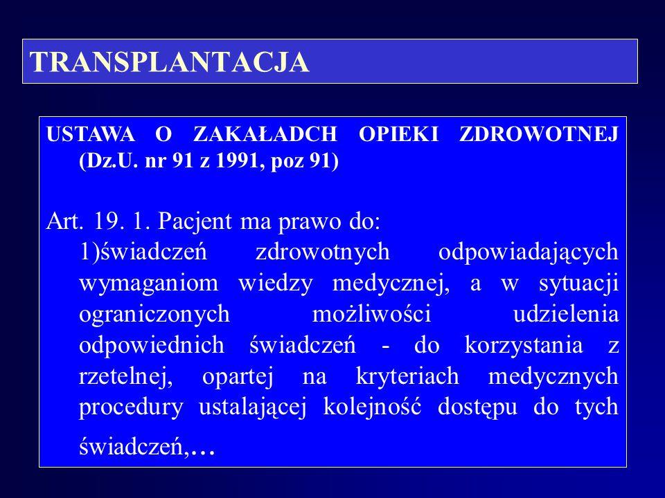 TRANSPLANTACJA KONSTYTUCJA RZECZYPOSPOLITEJ POLSKIEJ z dnia 2 kwietnia 1997 r. (Dz. U. z dnia 16 lipca 1997 r.) Art. 30 Przyrodzona i niezbywalna godn