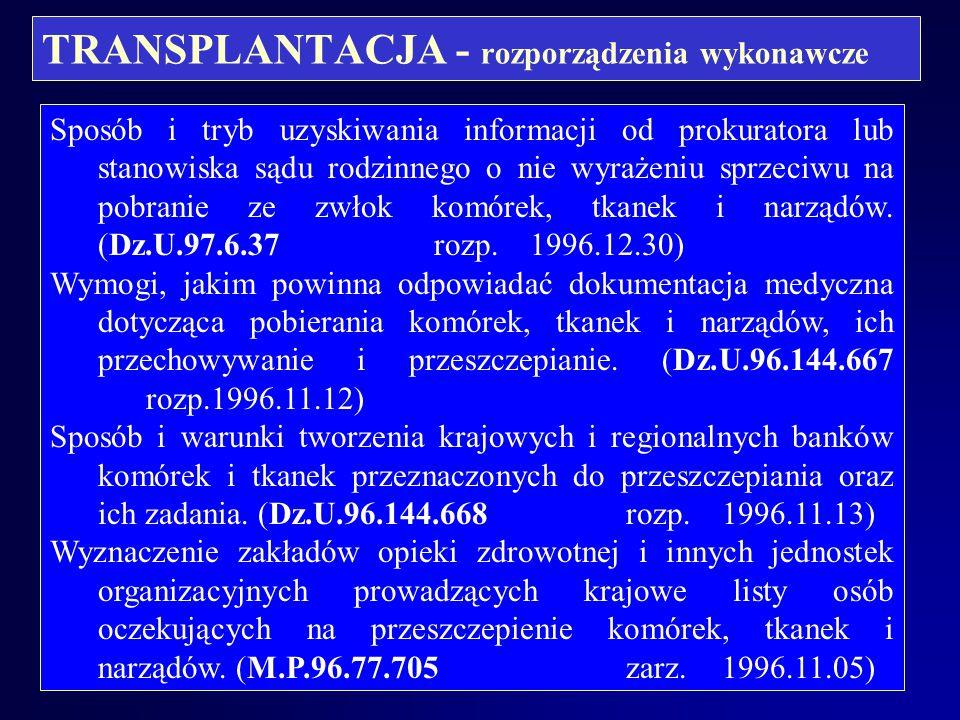 TRANSPLANTACJA- rozporządzenia wykonawcze Warunki pobierania i przeszczepiania komórek, tkanek i narządów oraz sposób stwierdzania spełniania tych war