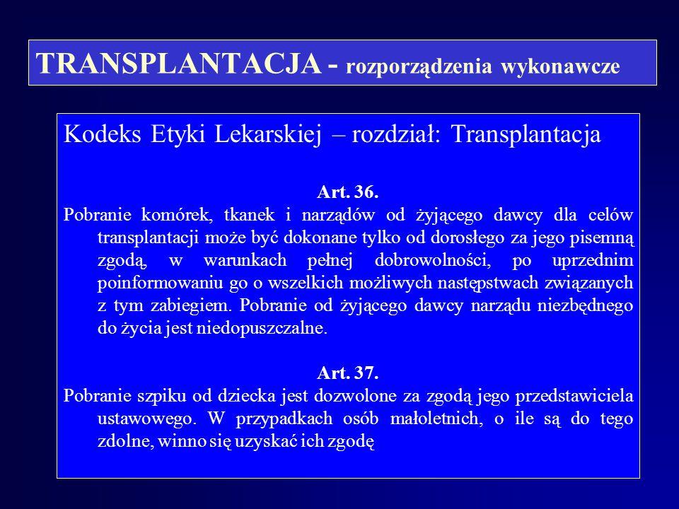 TRANSPLANTACJA - rozporządzenia wykonawcze Kodeks Etyki Lekarskiej – rozdział: Transplantacja Art. 33. Lekarz może pobierać komórki, tkanki i narządy