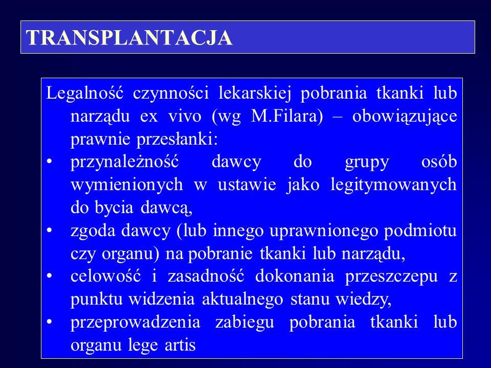 TRANSPLANTACJA Transplantacja komórek, tkanek i narządów od wielu lat nie jest eksperymentem medycznym, lecz metodą leczniczą powszechnie stosowaną, m