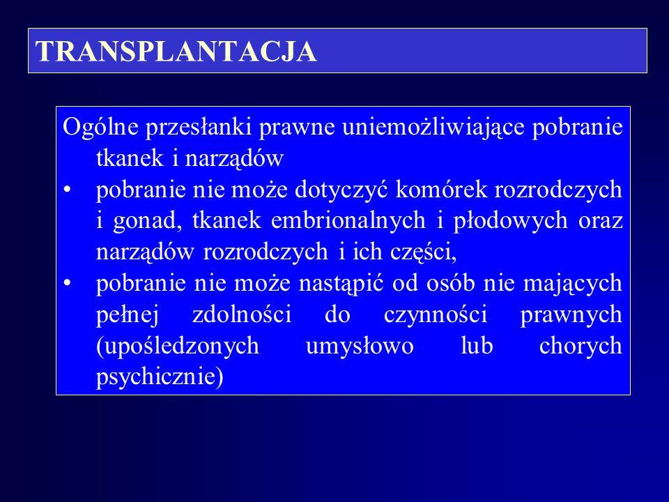 TRANSPLANTACJA Legalność czynności lekarskiej pobrania tkanki lub narządu ex vivo (wg M.Filara) – obowiązujące prawnie przesłanki: przynależność dawcy