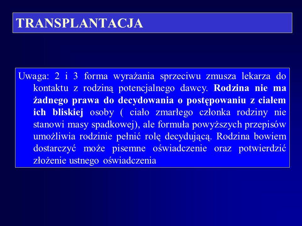 """TRANSPLANTACJA Formy oświadczenia o sprzeciwie określa art. 5.1. ustawy """"transplantacyjnej"""": -wpis w centralnym rejestrze zgłoszonych sprzeciwów to je"""