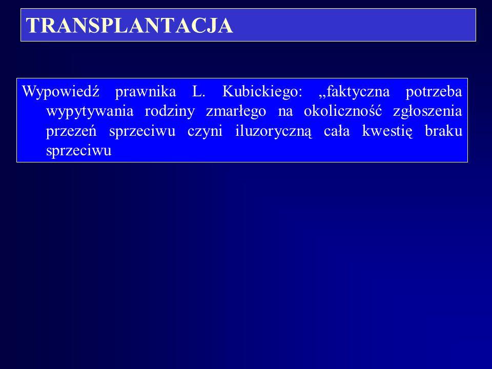 TRANSPLANTACJA Prawnik M. Boratyńska proponuje by lekarz przed rozmową z rodziną uprzedzał ją o o odpowiedzialności za fałszywe zeznania. Postępowanie