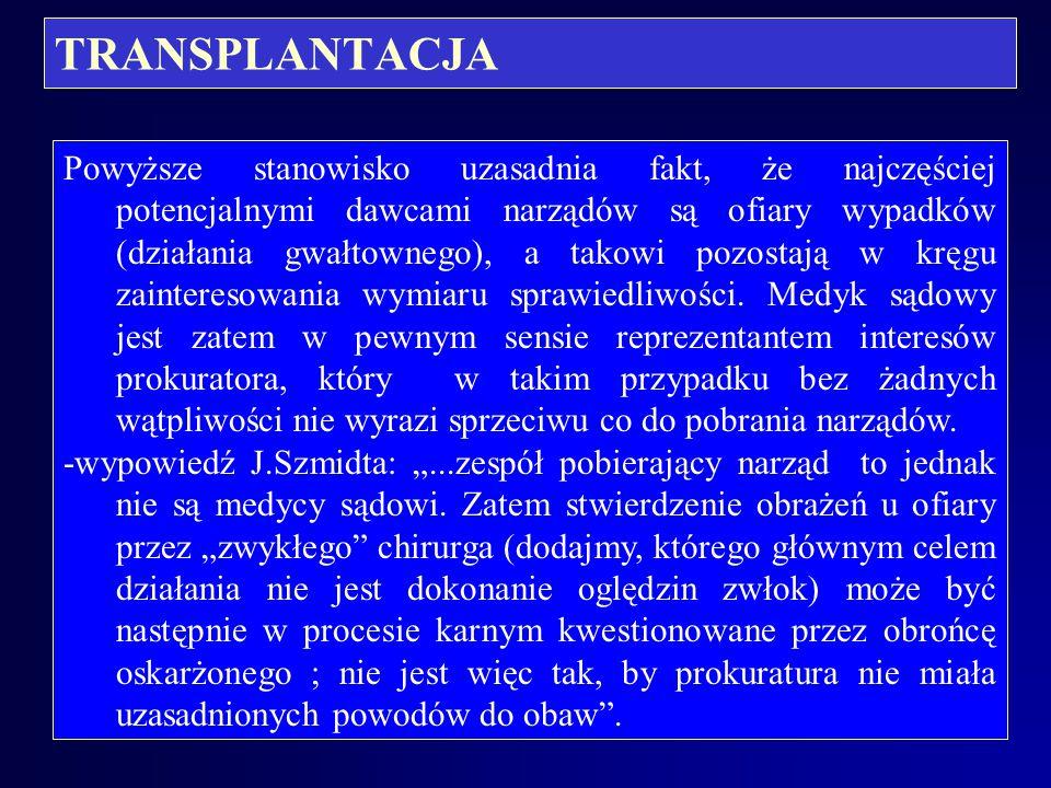 """TRANSPLANTACJA Komisja ustalająca śmierć pnia mózgu u potencjalnego dawcy: -art. 7.3 ustawy """"transplantacyjnej stanowi, że w skład tej komisji wchodzą"""