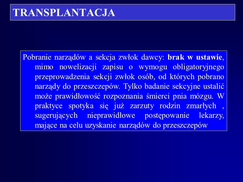 TRANSPLANTACJA Powyższe stanowisko uzasadnia fakt, że najczęściej potencjalnymi dawcami narządów są ofiary wypadków (działania gwałtownego), a takowi