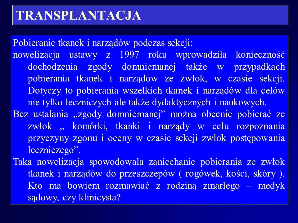 TRANSPLANTACJA Pobranie narządów a sekcja zwłok dawcy: brak w ustawie, mimo nowelizacji zapisu o wymogu obligatoryjnego przeprowadzenia sekcji zwłok o