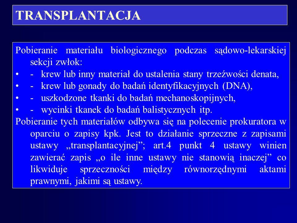 TRANSPLANTACJA Pobieranie tkanek i narządów podczas sekcji: nowelizacja ustawy z 1997 roku wprowadziła konieczność dochodzenia zgody domniemanej także