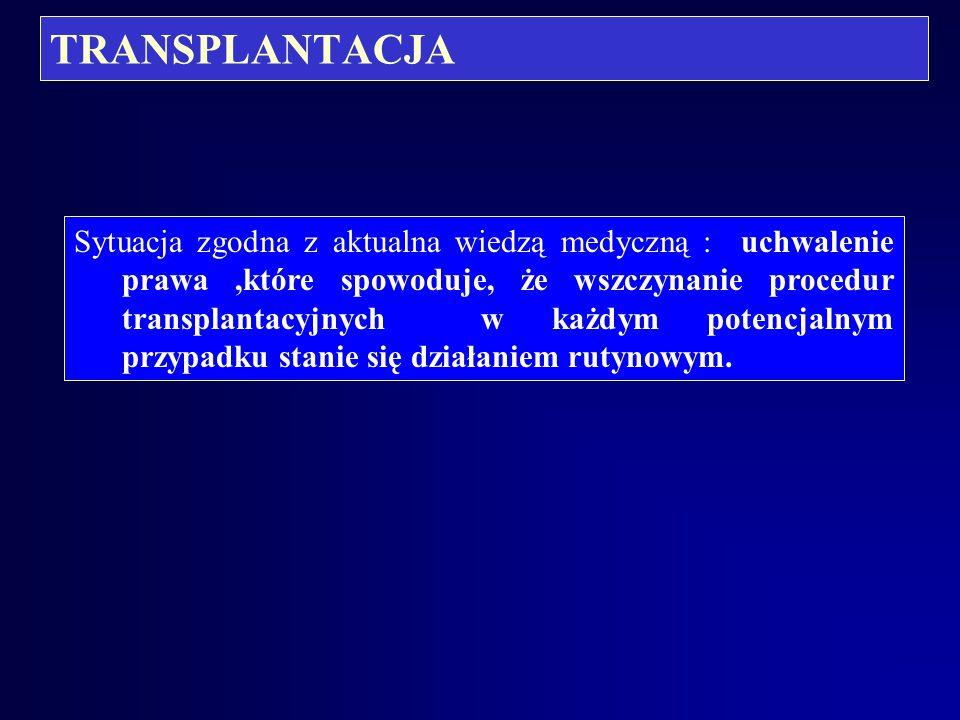 TRANSPLANTACJA Pobieranie materiału biologicznego podczas sądowo-lekarskiej sekcji zwłok: - krew lub inny materiał do ustalenia stany trzeźwości denat