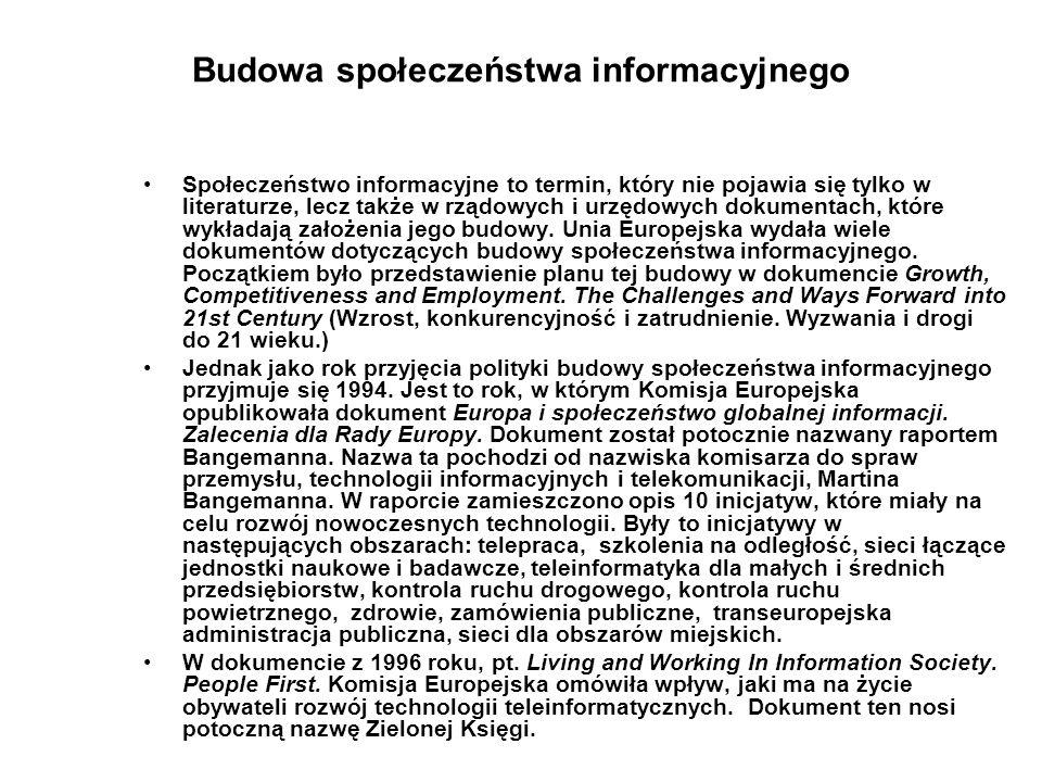 Budowa społeczeństwa informacyjnego Społeczeństwo informacyjne to termin, który nie pojawia się tylko w literaturze, lecz także w rządowych i urzędowy