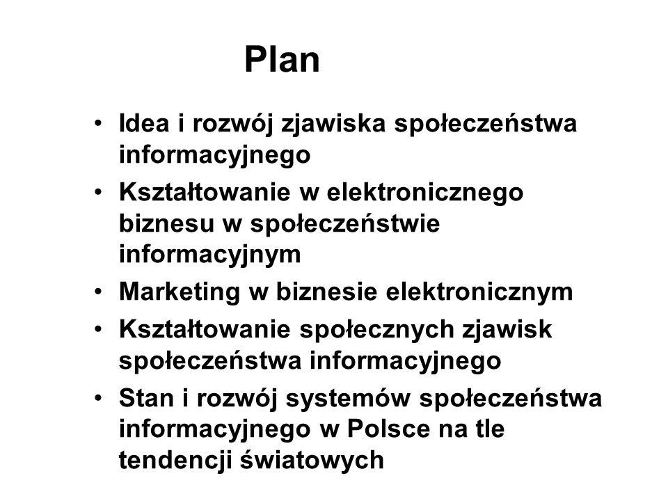 Plan Idea i rozwój zjawiska społeczeństwa informacyjnego Kształtowanie w elektronicznego biznesu w społeczeństwie informacyjnym Marketing w biznesie e