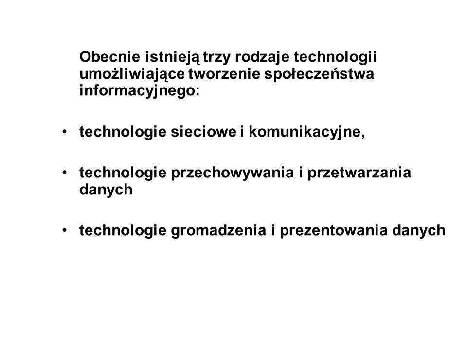 Obecnie istnieją trzy rodzaje technologii umożliwiające tworzenie społeczeństwa informacyjnego: technologie sieciowe i komunikacyjne, technologie prze
