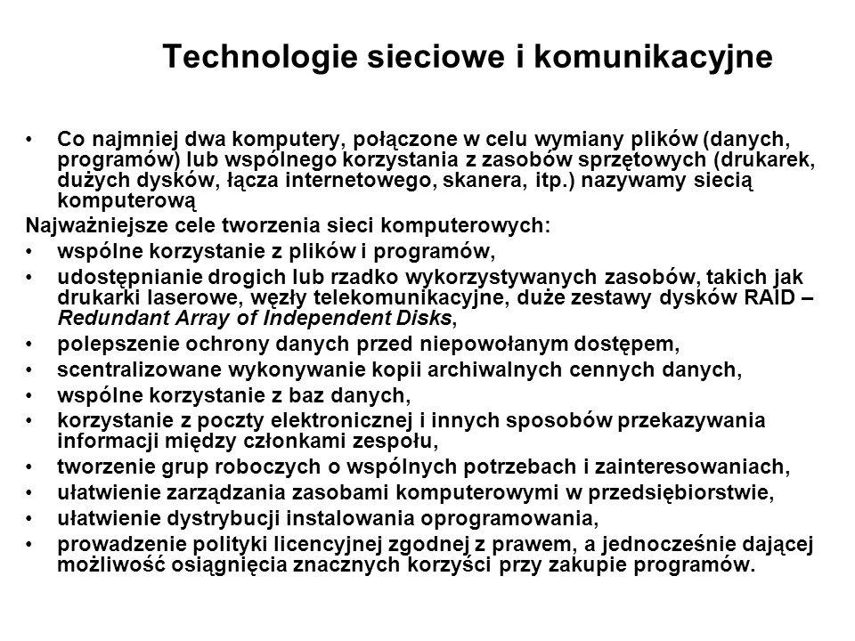 Technologie sieciowe i komunikacyjne Co najmniej dwa komputery, połączone w celu wymiany plików (danych, programów) lub wspólnego korzystania z zasobó