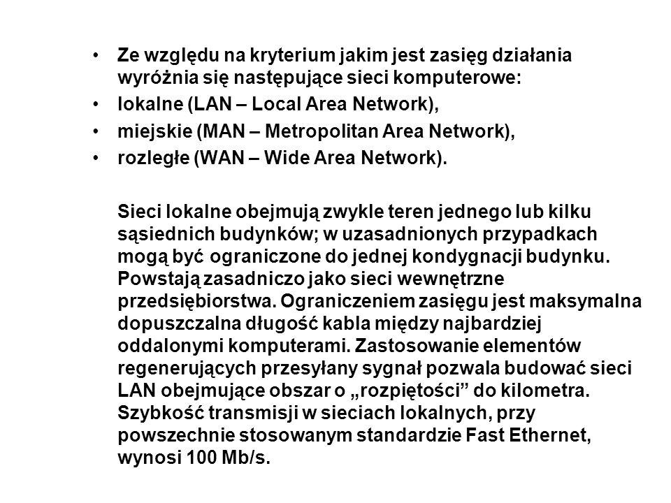 Ze względu na kryterium jakim jest zasięg działania wyróżnia się następujące sieci komputerowe: lokalne (LAN – Local Area Network), miejskie (MAN – Me