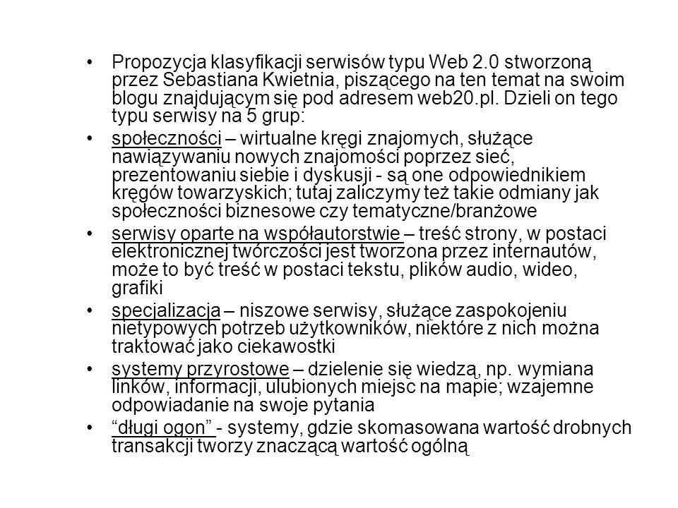Propozycja klasyfikacji serwisów typu Web 2.0 stworzoną przez Sebastiana Kwietnia, piszącego na ten temat na swoim blogu znajdującym się pod adresem w