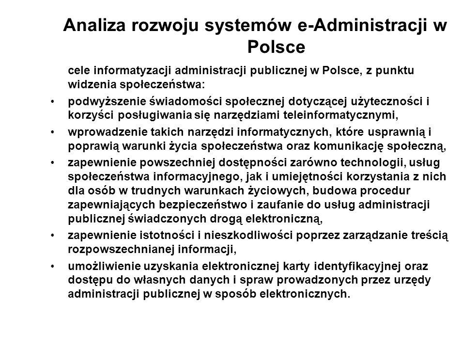Analiza rozwoju systemów e-Administracji w Polsce cele informatyzacji administracji publicznej w Polsce, z punktu widzenia społeczeństwa: podwyższenie
