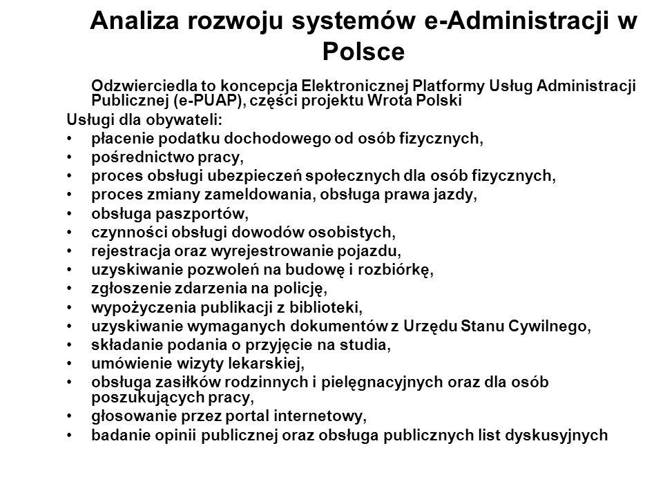 Analiza rozwoju systemów e-Administracji w Polsce Odzwierciedla to koncepcja Elektronicznej Platformy Usług Administracji Publicznej (e-PUAP), części