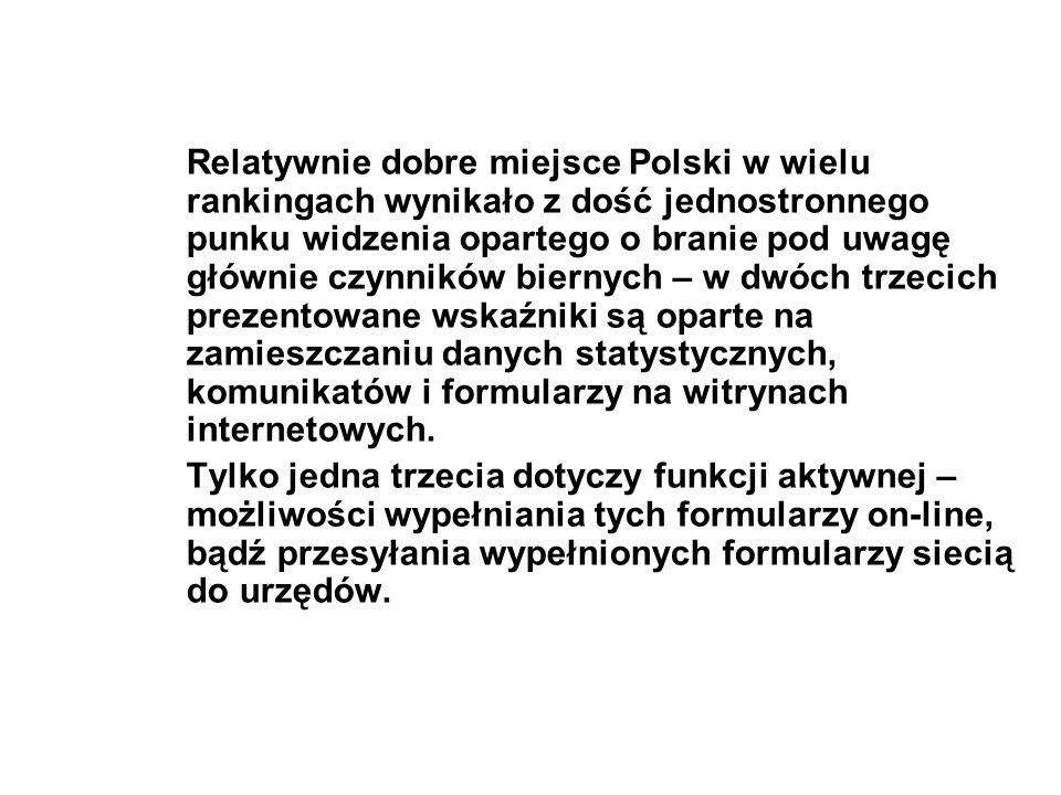 Relatywnie dobre miejsce Polski w wielu rankingach wynikało z dość jednostronnego punku widzenia opartego o branie pod uwagę głównie czynników biernyc