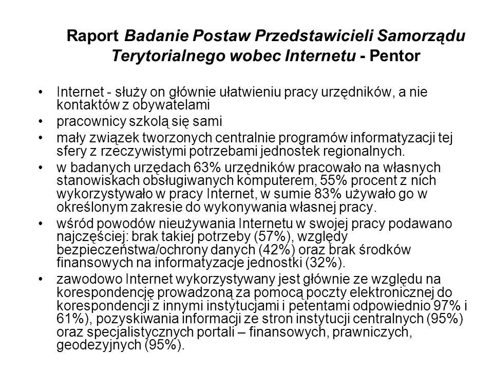 Raport Badanie Postaw Przedstawicieli Samorządu Terytorialnego wobec Internetu - Pentor Internet - służy on głównie ułatwieniu pracy urzędników, a nie