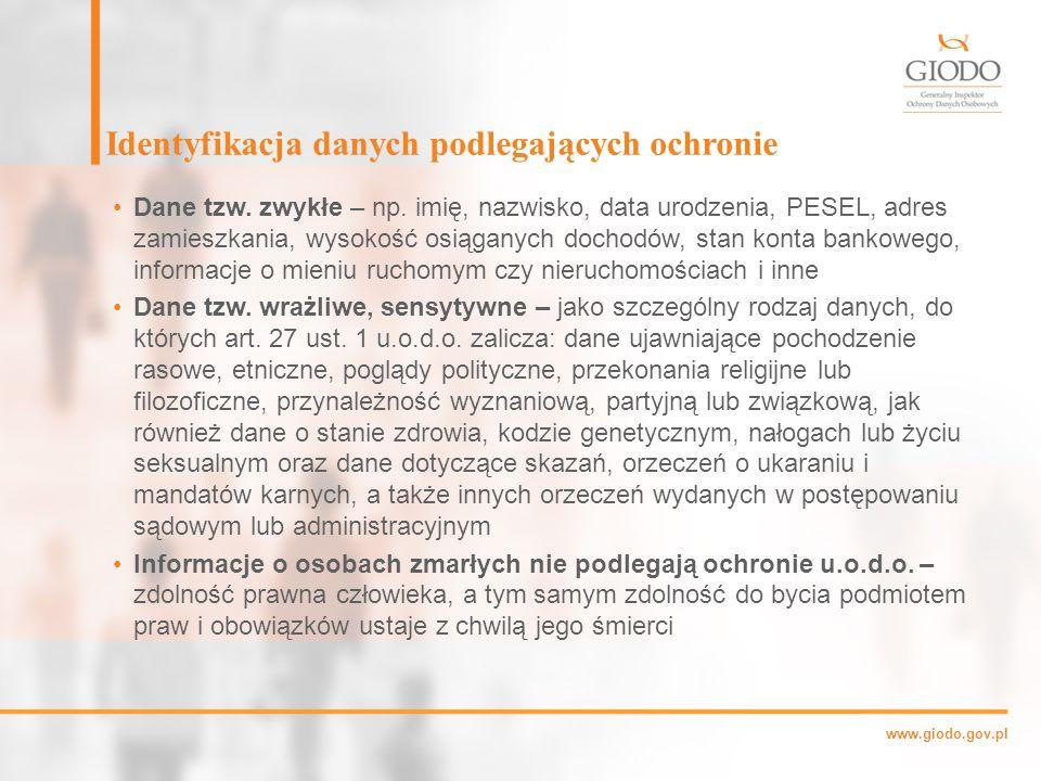 www.giodo.gov.pl Identyfikacja danych podlegających ochronie Dane tzw.