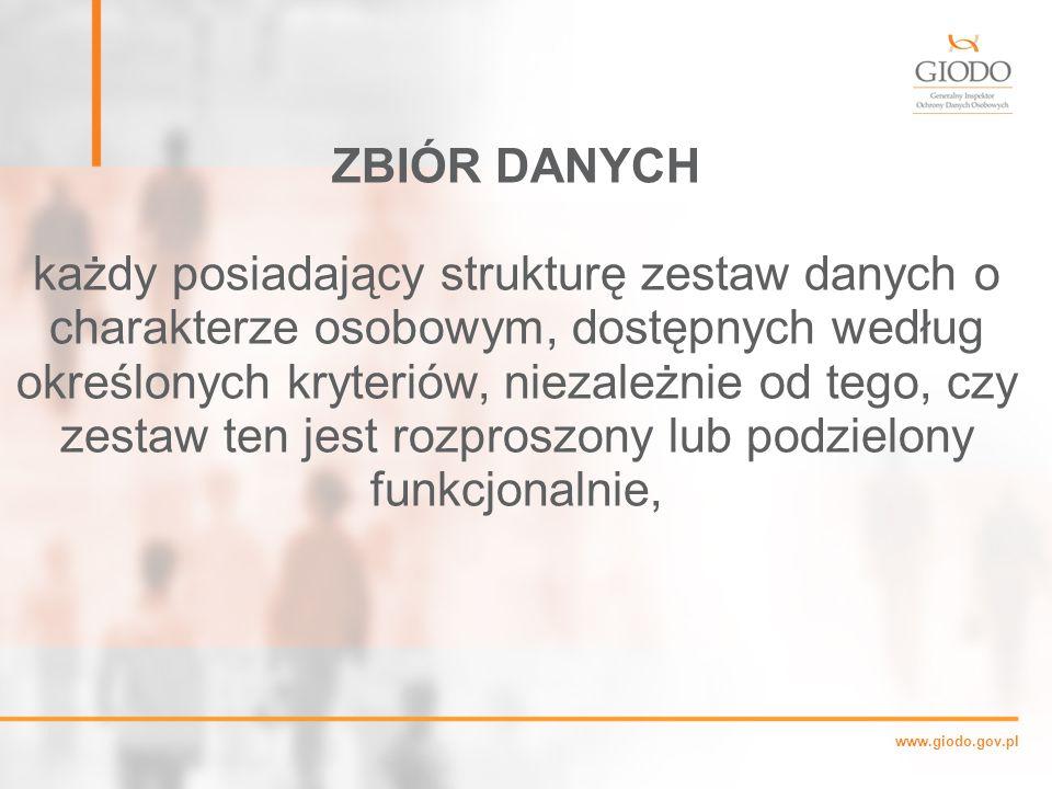 www.giodo.gov.pl ZBIÓR DANYCH każdy posiadający strukturę zestaw danych o charakterze osobowym, dostępnych według określonych kryteriów, niezależnie od tego, czy zestaw ten jest rozproszony lub podzielony funkcjonalnie,