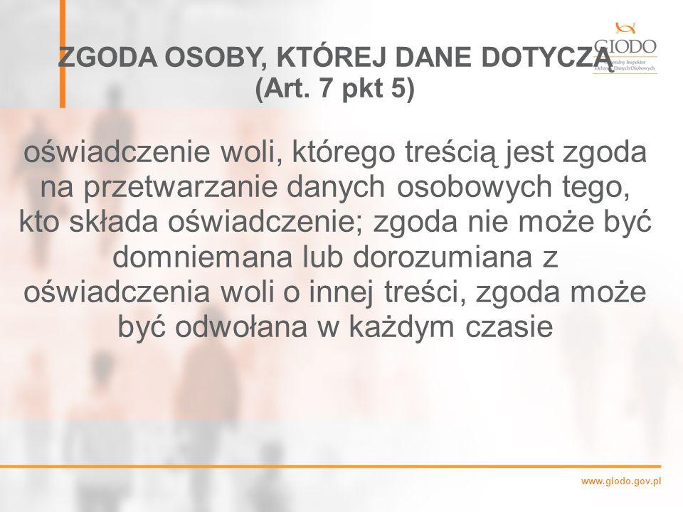 www.giodo.gov.pl ZGODA OSOBY, KTÓREJ DANE DOTYCZĄ (Art.