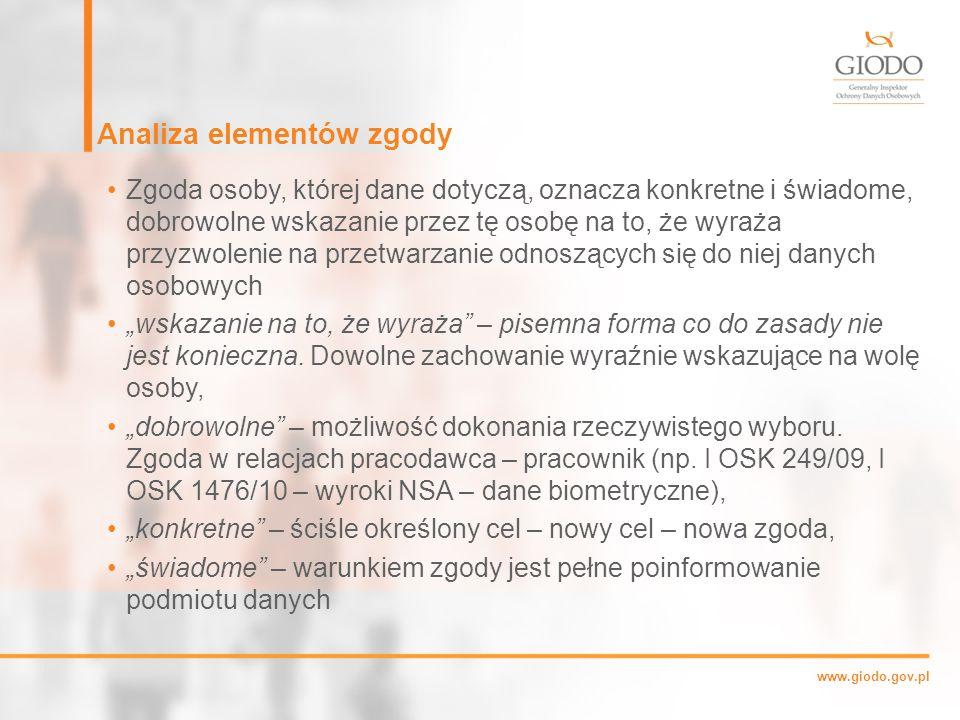 """www.giodo.gov.pl Analiza elementów zgody Zgoda osoby, której dane dotyczą, oznacza konkretne i świadome, dobrowolne wskazanie przez tę osobę na to, że wyraża przyzwolenie na przetwarzanie odnoszących się do niej danych osobowych """"wskazanie na to, że wyraża – pisemna forma co do zasady nie jest konieczna."""