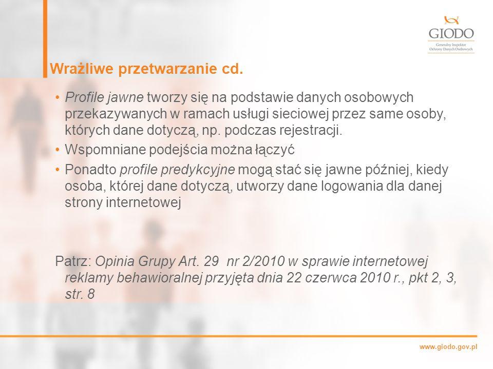 www.giodo.gov.pl Wrażliwe przetwarzanie cd.