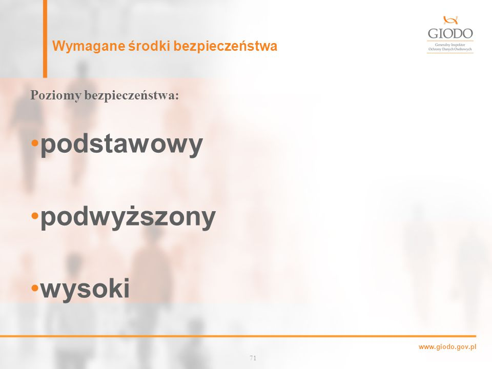 www.giodo.gov.pl Wymagane środki bezpieczeństwa Poziomy bezpieczeństwa: podstawowy podwyższony wysoki 71