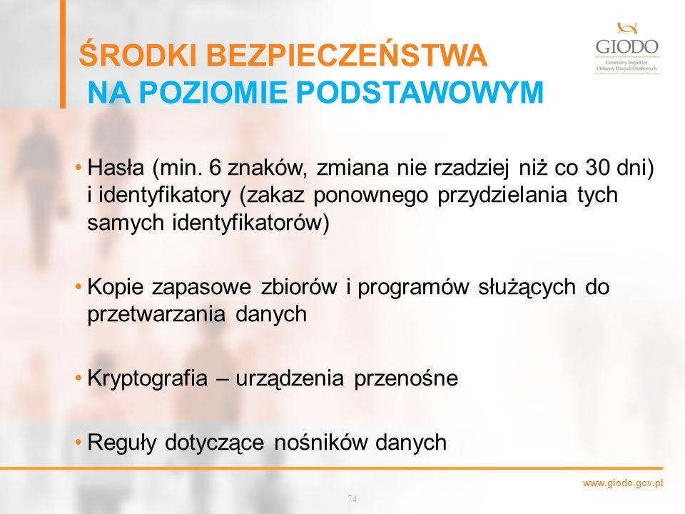 www.giodo.gov.pl ŚRODKI BEZPIECZEŃSTWA NA POZIOMIE PODSTAWOWYM Hasła (min.