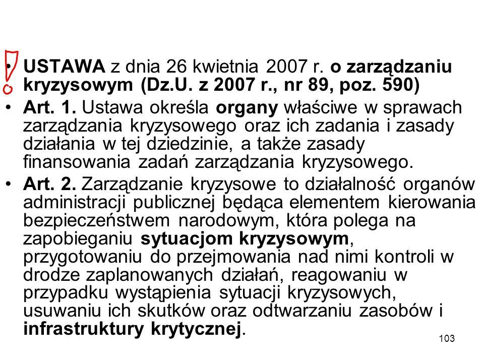 103 USTAWA z dnia 26 kwietnia 2007 r. o zarządzaniu kryzysowym (Dz.U. z 2007 r., nr 89, poz. 590) Art. 1. Ustawa określa organy właściwe w sprawach za