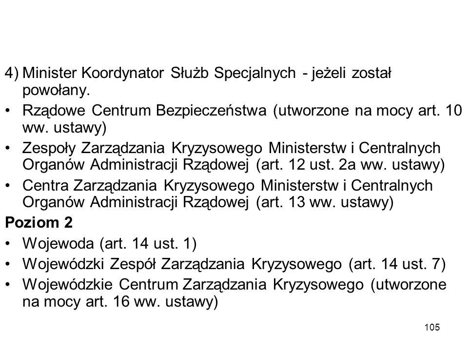105 4)Minister Koordynator Służb Specjalnych - jeżeli został powołany. Rządowe Centrum Bezpieczeństwa (utworzone na mocy art. 10 ww. ustawy) Zespoły Z