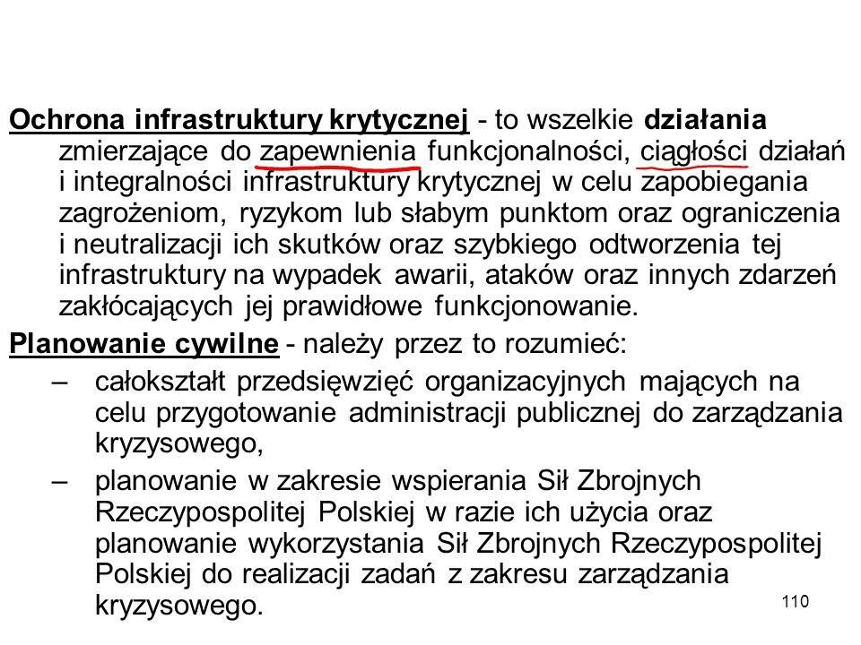 110 Ochrona infrastruktury krytycznej - to wszelkie działania zmierzające do zapewnienia funkcjonalności, ciągłości działań i integralności infrastruk